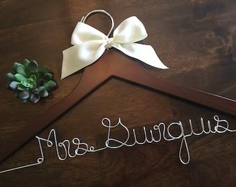 Sale Personalized Wedding Hanger Bridal Hanger Bride Hanger with Custom Wire Name Hanger Wedding Dress Hanger