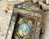 1700s antique European reliquary, 18th century glass reliquary with miniature painting of Jesus