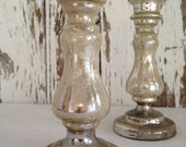 RESERVED for Donna // antique Victorian mercury glass    candlesticks  silver with white florals        early 1900s