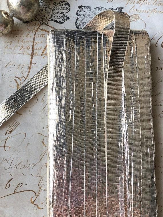 1 yard of french antique silver lame ribbon 1920s yardage