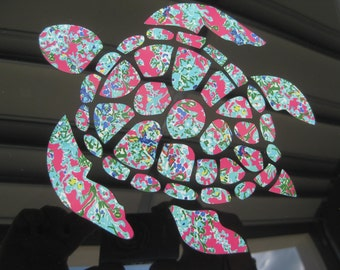 Sea Turtle Decal - Monogram Sea Turtle Decal - Pattern Sea Turtle Decal - Monogram Pattern Decal - Decal Sea Turtle - Car Decal - Turtle