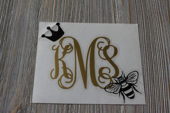 Queen bee monogram car decal monogram queen bee car decal
