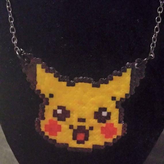 Pikachu Pokemon Hama Bead Necklace