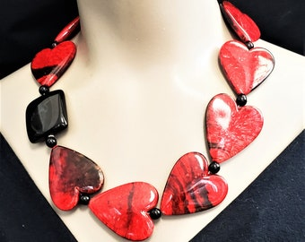 Red Heart Necklace Asymmetrical Big Bold Chunky Statement Valentine Necklace Gift for Her Heart Necklace Love
