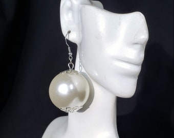 Pearl Earrings 3.5 Long Dangle White Pearl Stud Gold Chains Big Bold Chunky Statement Wedding Earrings Bridal Jewelry Formal