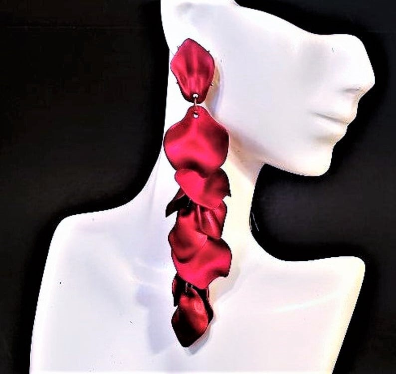 Red Statement Earrings 4 Large Acrylic Dangle Stud Cranberry Red Petals Big Bold Chunky Formal Earrings Plus Size