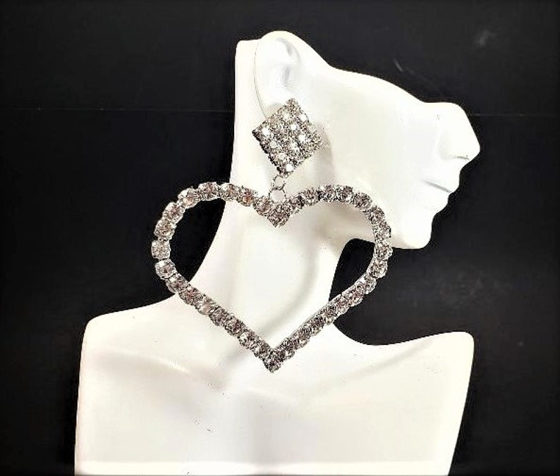 Huge Rhinestone Heart Earrings 4.25  Long Silver Clear Crystal Oversized Statement Big Bold Chunky Plus Size Formal Earrings Valentines Day