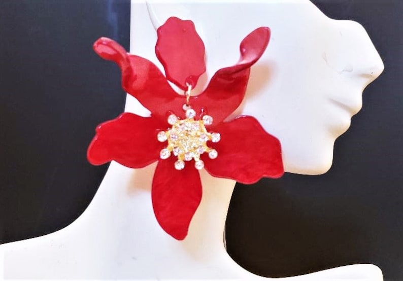 Flower Earrings 3 Long Red Floral Rhinestones Acrylic Big Bold Chunky Statement Oversized Plus Size Garden Wedding Summer Spring