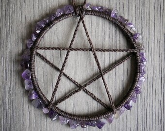 Amethyst Altar Pentacle, Pentagram Charm, Wicca, Wicca Supplies, Pagan, Ritual tools