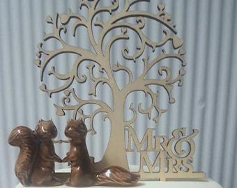 Ceramic Squirrel Loving Couple Wedding Cake Topper, Woodland Creature, Garden