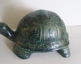 Box Turtle, Tortoise, Garden Decor, Woodland Animal, Turtle Lovers, Collectible, Hand-painted with Glaze