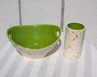 Handled bowl and tumbler set.