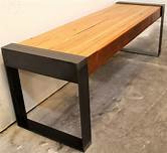 Incredible Reclaimed Oak Wood And Steel Leg Bench Industrial Steel Legs Bench Entryway Bench Rustic Bench To Decorate Your Home Garden Or Any Place Pabps2019 Chair Design Images Pabps2019Com