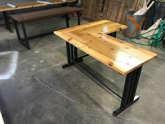Solid Steel Based L Shaped Handmade Modern Pine Wood Desk