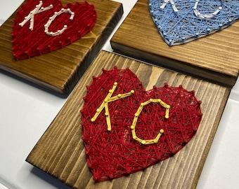 KC Heart String Art, KC Love, Kansas City String Art, Kansas City Heart string art