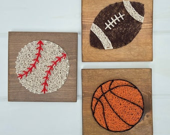 Sports themed string art, basketball, football, baseball
