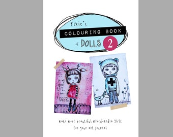 Colouring Book of Dolls 2, original drawings, kids colouring books, creative art books.