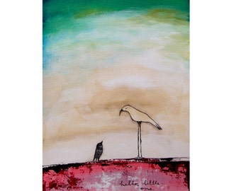 Two Birds. Giclee print, acrylic art print, fine art print, girl painting. A4 and A3 size print