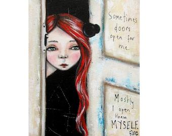 Open Doors art print, Acrylic art print, fine art, canvas art print, Giclee print from original acrylic painting, girl painting.