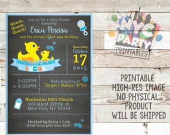 Rubber Ducky Baby Shower Invitation Boy Baby Shower Etsy