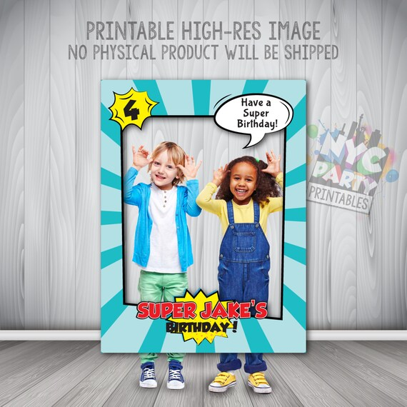 Personalised Photo Booth Children SUPER HEROES Photobooth Frame Birthday Party