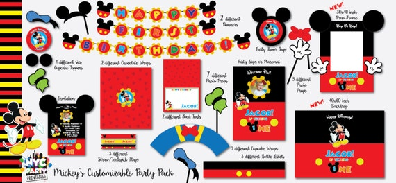 Mickey Mouse Birthday Pack With Photo Booth Props Backdrop Etsy