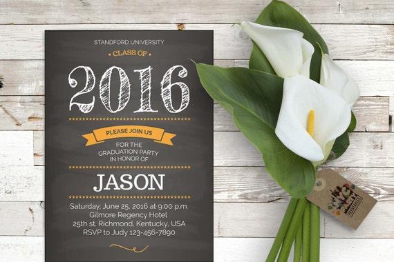 Graduation Party Invitation Grad Printable Chalkboard