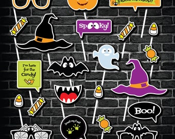Instant Download Halloween Photo Booth Props, Printable Photo Booth Props, Halloween DIY PhotoBooth Props,  Kid Friendly PhotoBooth Props