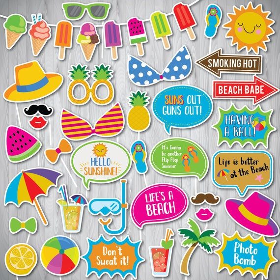 image relating to Free Photo Booth Props Printable Pdf referred to as Summertime Social gathering Picture Booth Props, Seaside Celebration Picture Booth