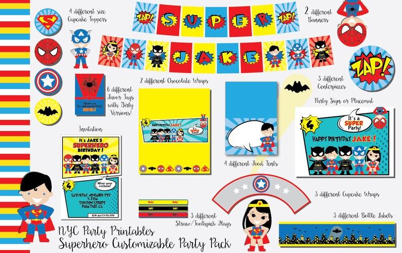 Superhero Birthday, Superhero Birthday Party, Unisex Superhero, Printable  Party Pack, Batman, Superman, Wonder woman, Captain America,
