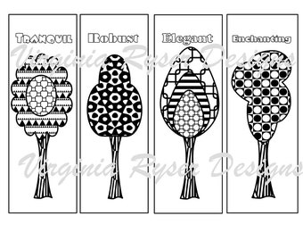Digital coloring page of 4 bookmarks.  Whimsical trees.