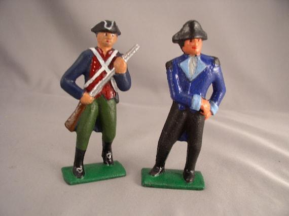 Two (2) Vintage 1930s Lead Train Figures - Rev  War - Nice Orginals -  Vintage Toy