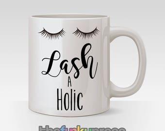 Lash A Holic Mug Cup Tea Coffee Fake Lashes Beautician Gift Present