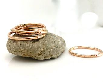 Thin Rose Gold Band -  Rose gold Stacking Ring - Rose Gold Band - Rose gold ring - Rose gold hammered ring - Rose gold textured ring