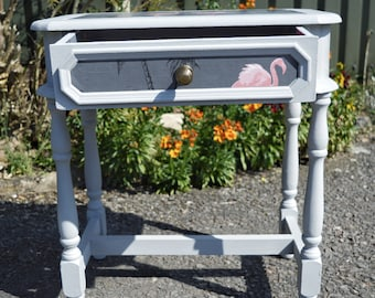 Upcycled Flamingo Vintage Side Table