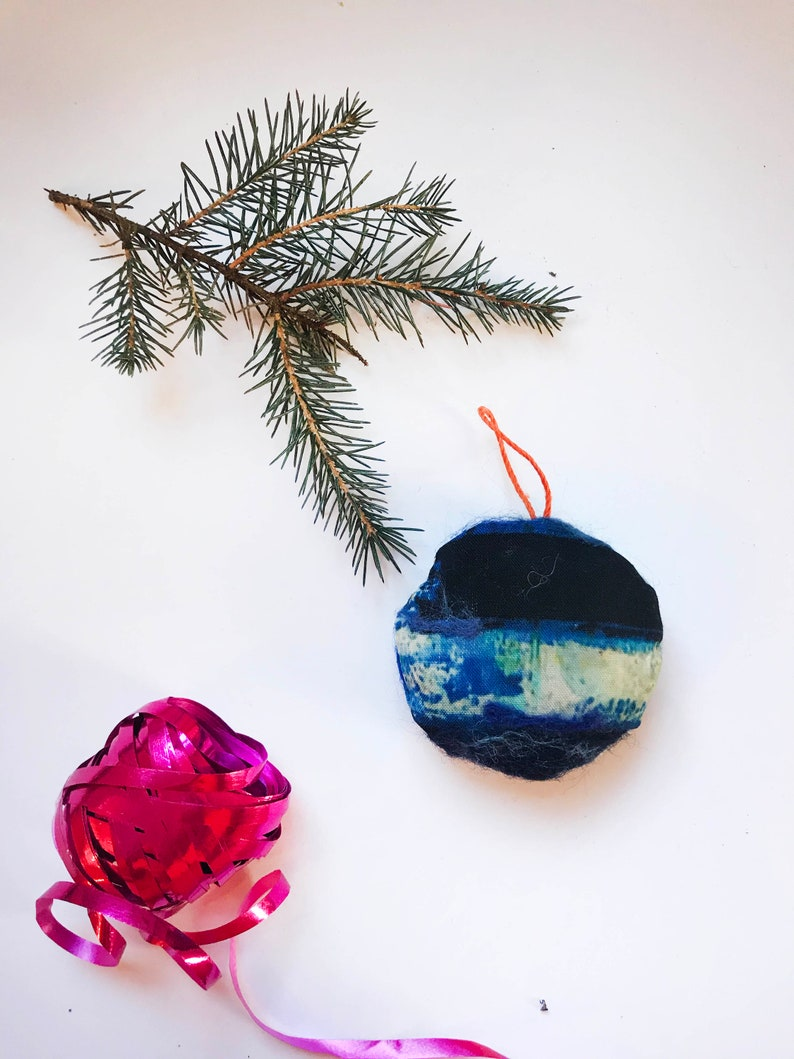 Christmas Tree Decorations Abstract Felted Bauble Hand-painted Blue Felted Bauble Abstract Xmas Xmas Decorations.