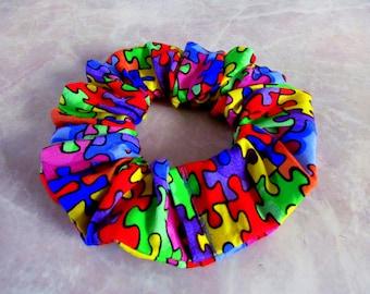 Autism Awareness Handmade Hair Scrunchie
