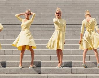 Reversible Wrapdress, swingskirt -- Organic -- Fairtrade -- Wunschfarbe -- Wunschgröße