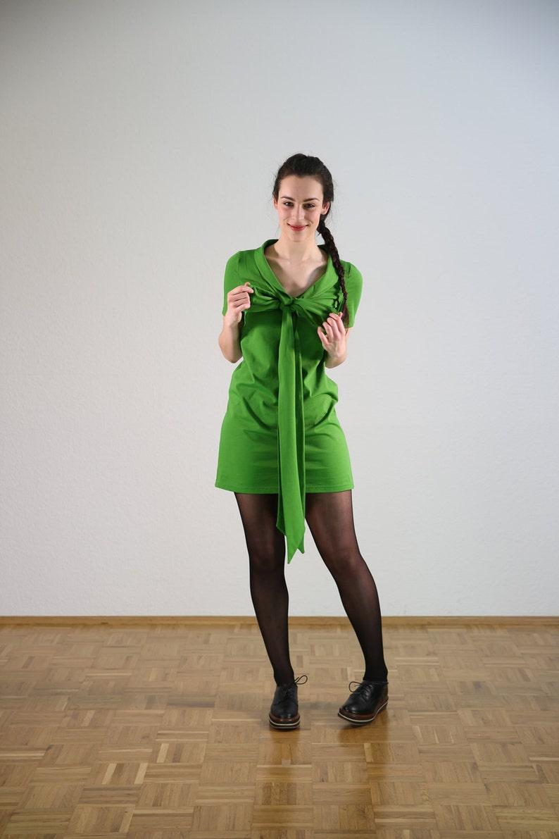Convertible Shawlcollar Wrapdress--organic--Fairtrade--Green