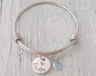 Personalized Child Birthstone Bracelet, Personalized Birthstone Bracelet, Personalized Child Bracelet, Child Birthstone Bangle