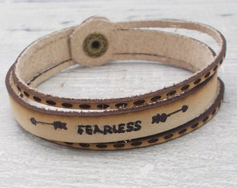 Leather Cuff, Personalized Leather Bracelet, Fearless, Leather Multi Strand Bracelet, Inspirational Leather Bracelet, Hand Stamped Leather