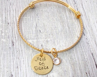 Maid Of Honor Gift, Personalized Maid Of Honor Gift, Custom Maid Of Honor, Maid Of Honor Jewelry, Maid Of Honor Bracelet, Maid Of Honor