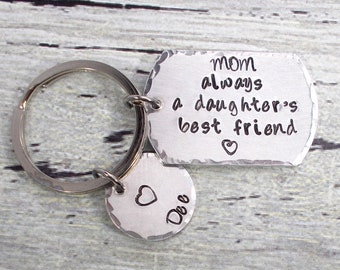 Personalized Mom Keychain, Mom Always A Daughter's Best Friend, Mom Gift, Daughter Gift