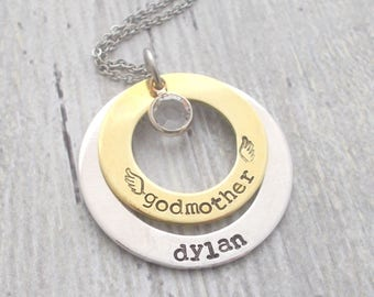 Godmother Gift, Personalized Godmother Gift, Godmother Baptism Gift, Godmother Jewelry, Personalized Godmother Necklace, Custom Godmother