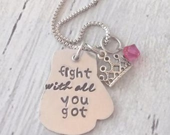 Boxing Glove Necklace, Princess Crown Necklace, Fight With All You Got, Inspirational Jewelry, Gift For Her, Survivor Jewelry, Fight Jewelry