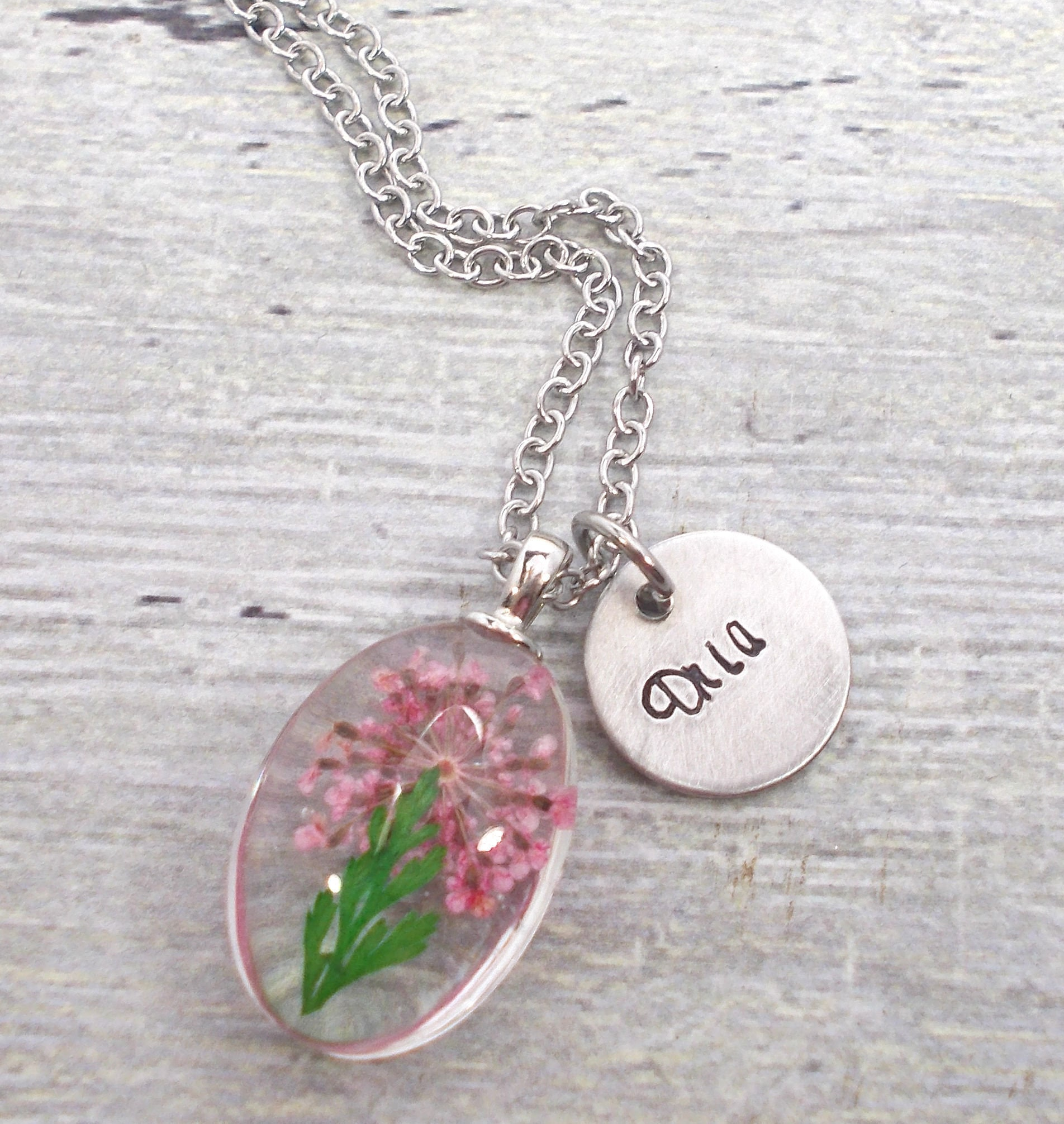 Real Flower Glass Terrarium Necklace Personalized Name Necklace