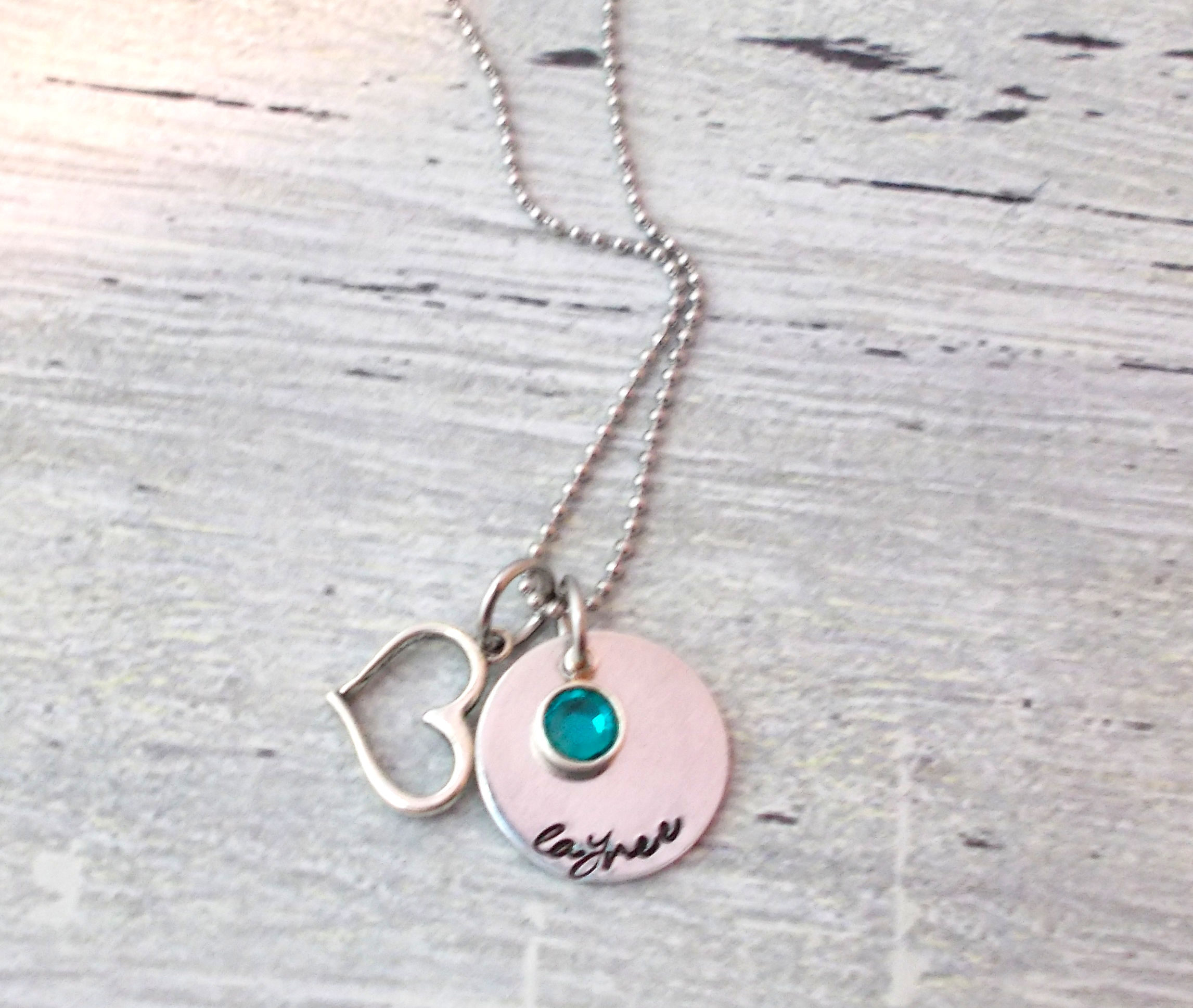 personalized name necklace heart jewelry birthstone necklace name