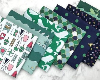 Fat Quarter Bundle, Ahoy! Mermaids Green, Riley Blake Designs, 7 Fat Quarters