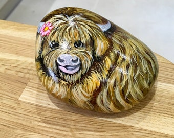 Highland cow hand painted pebble rock art animal wildlife stone