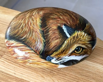 Fox hand painted pebble rock art painting garden stone painting